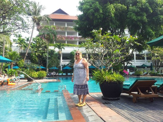 Anantara Riverside Bangkok Resort:                   By the pool waiting for happy hour