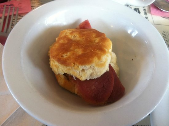 Little House of Pancakes: Side of country ham biscuit