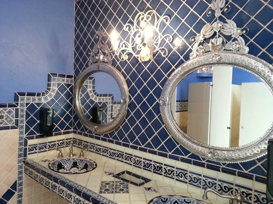 La Posta de Mesilla: Stunning tile and tin mirrors in one of the women's bathrooms