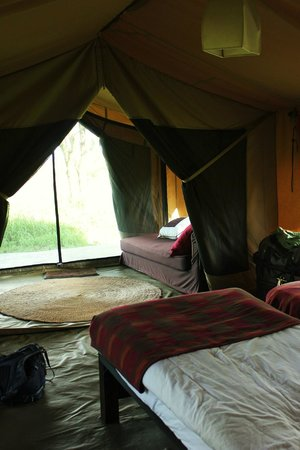 Dunia Camp:                   Front of tent, as seen from bedroom