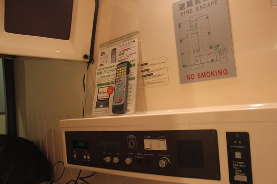 Tokyo Kiba Hotel:                   TV, aircondition and outlet in the capsule.
