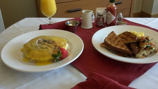The Steamboat Grand:                   Room service breakfast.