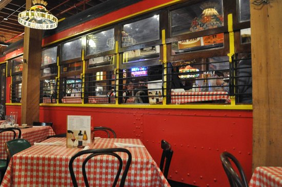 An interurban dining area is a standard feature at Spaghetti Warehouse restaurants.