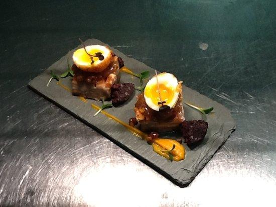Brioche Cafe & Deli: Pressed pork belly, apple chutney, black pudding, scotch egg..