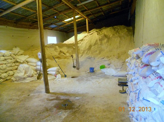 Salinas de Maras: Solid salt is beaten and granulated and keep in the storage in the village of Salinas
