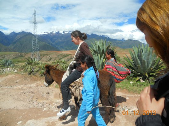 Salinas de Maras: On the way to Salinas throgh mountain path, local people offered donkey ride