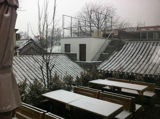 The Orchid Hotel:                   View from the Breakfast room across snowy roofs to 'Yang' room.