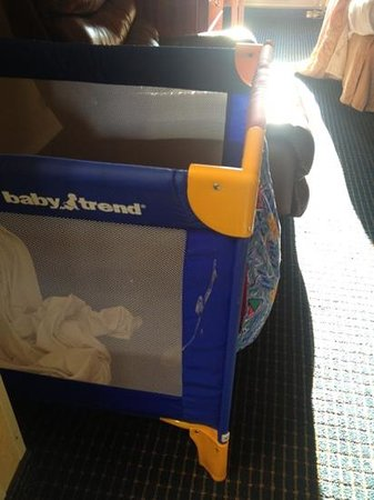 Comfort Inn: spit-up stain on the side of the crib