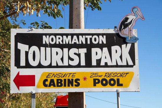 Normanton Tourist Park:                   The park sign