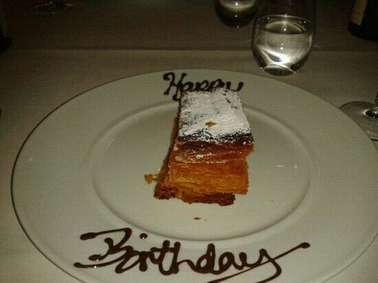 The Source:                                     A delicious end to a Birthday treat! Mille feuille is the la