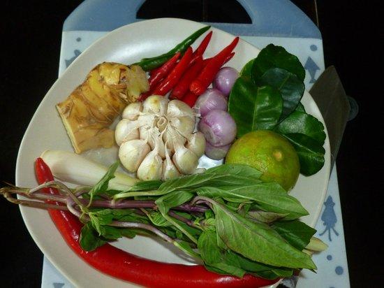 Pum Thai Restaurant:                   Ingredients for coconut soup!