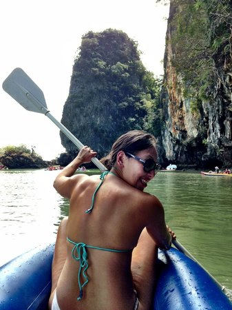 Phuket Sail Tours:                   Canoeing through the caves