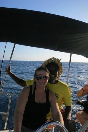 Roatan Sailing with Captain Alex:                                     Captain Alex and Captain in training