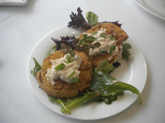 The Mansion Restaurant at Nottoway:                   Fried Green Tomato Appetizer