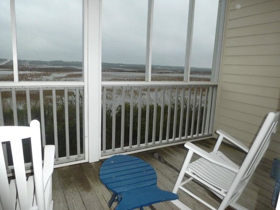 The Sunset Inn:                   View of intercoastal waterway from private screened porch.
