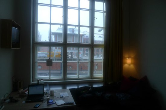 "Michelberger Hotel:                   My morning view through the ""almost-floor"" to ceiling windows"