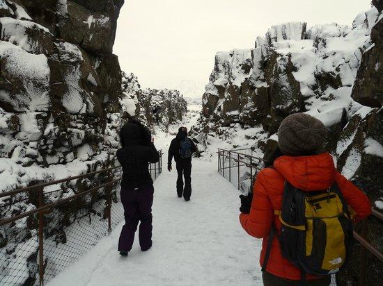 Iceland Horizon:                   Walking through the Thingvellir National Park,