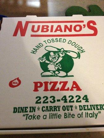 Nubiano's Pizza:                   box                 