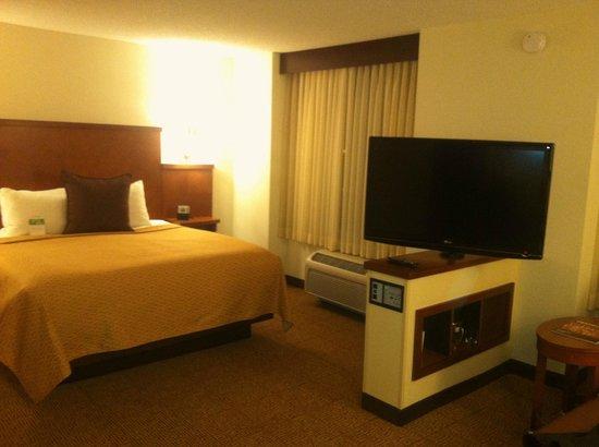 هياة بليس ساكرامنتو روزفيل: Comfortable bed, TV swivels for viewing.
