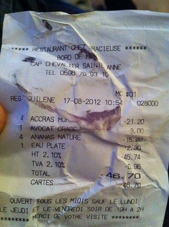 Chez Gracieuse : note 48€ pour 4 livré sur l'ilet !!