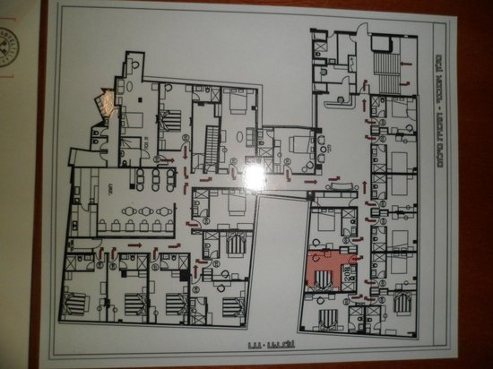 The Embassy Hotel: Hotel fire exit map (overall view of rooms).