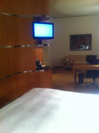 Swissotel Berlin:                   Watching TV in our bedroom