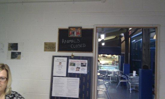 "MOO Play Farm:                   ""Animals Closed"" sign"