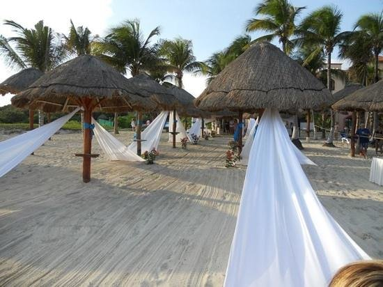 Sandos Playacar Beach Resort:                                     Wedding setup on the beach (the aisle)