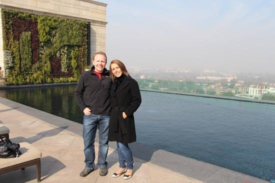 The Leela Palace New Delhi:                   infinity pool and live wall at top of hotel... what a view even in winter.