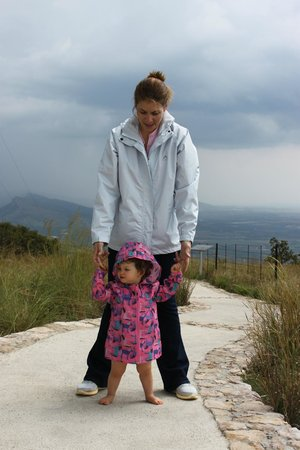 Aerial Cableway Hartbeespoort:                   Mom trying hard to get baby to walk faster ... storm coming