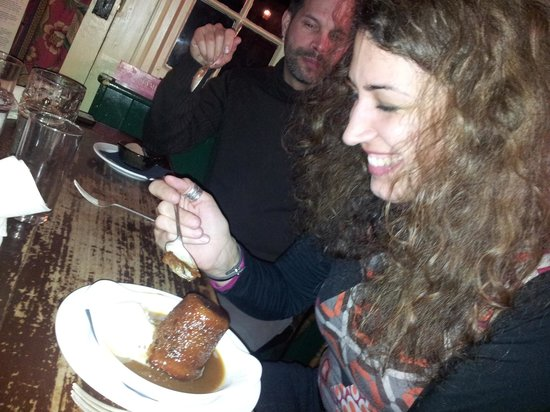 Rose and  Thistle:                   Shana digs into her sticky toffee pudding with gusto