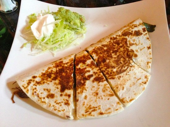 El Tule Mexican & Peruvian:                   Shredded Beef Quesadilla