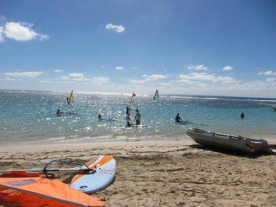 Club Med La Caravelle:                   windsurfing, kids in gym class showed up