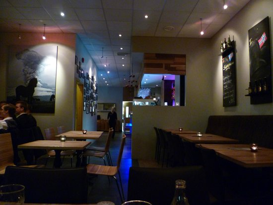 The entrance view. with a table of over 20 Icelandic men to our left. :D