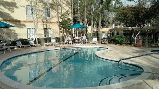 La Quinta Inn & Suites Houston Bush IAH South:                   Pool & Hot tub patio area @ hotel