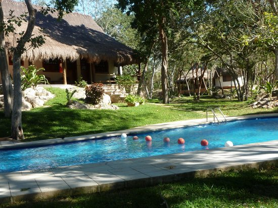 The Lodge at Chichen Itza:                   view of cabana