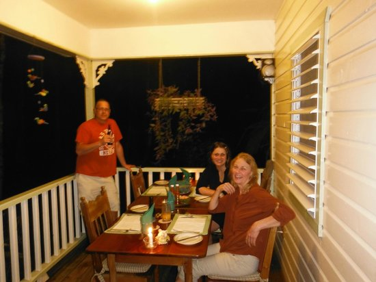 Hickatee Cottages:                                     Dinner and drinks on the veranda