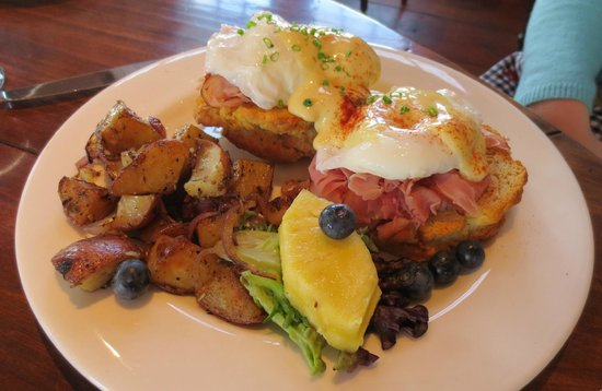 Eggs Benedict With Shaved Ham And Fresh Fruit Picture Of