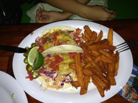 Old Key Lime House:                   Fish Tacos (grilled) with Sweet Potato Fries