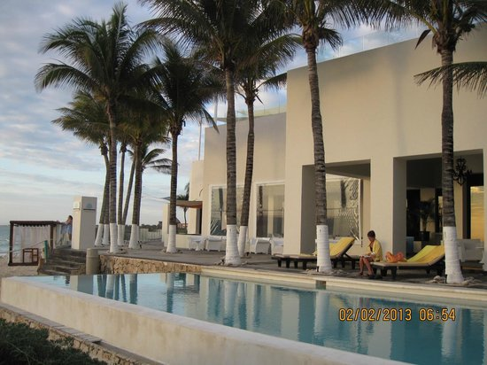 Oasis Tulum:                   The outdoor area outside the Grand lobby by the infinity pool.