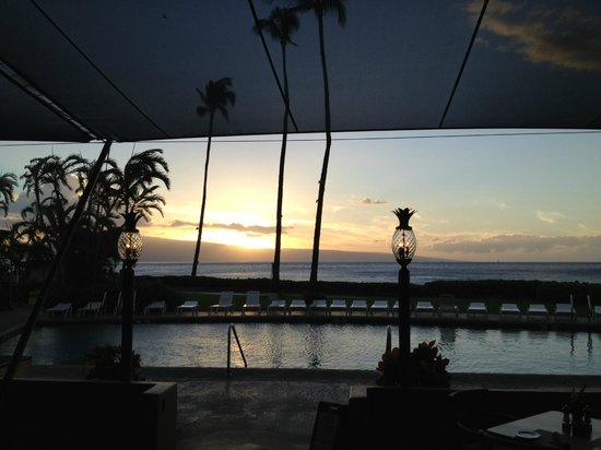 Royal Lahaina Resort:                   View of the beach from the hotel restaurant