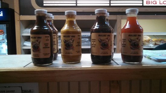 Bullies:                   Very good handmade BBQ sauces , all a little different, but all are very good