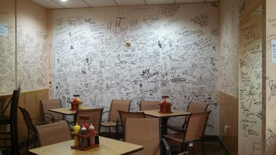Bullies:                   Sparse seating but the walls make interesting reading