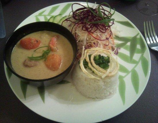 Wild Scallion :                   Malaysian Green Chili: yams, potatoes, carrot in sauce