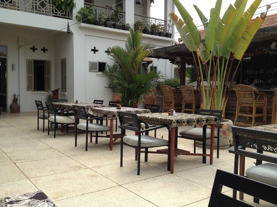 Bambu Battambang Hotel:                   A terrible shot of a perfect hotel setting, showing only the cafe and bar here