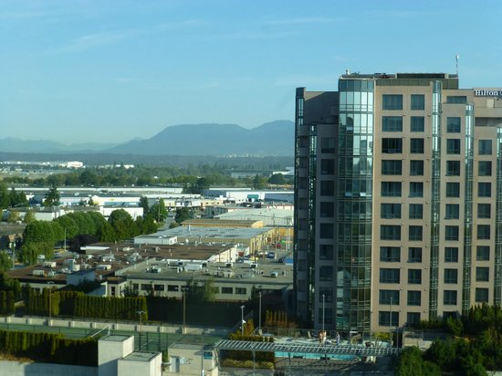Vancouver Airport Marriott Hotel:                   View from upper level - mountain side of hotel