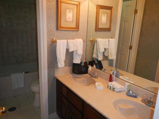Quarter House Resort:                   Bathroom sinks and counter                 