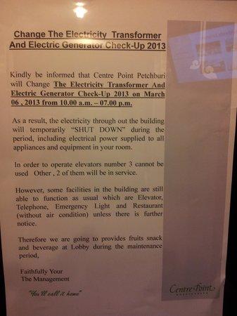 Centre Point Pratunam Hotel:                   Written notification