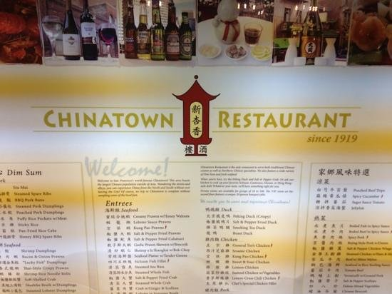 Chinatown Restaurant: Menu on the outside.
