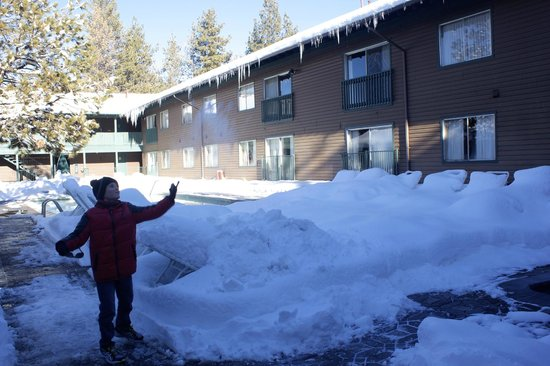 Forest Suites Resort at Heavenly Village:                   The pool area all snowed in